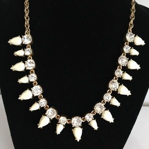 J. Crew statement necklace clear ivory rhinestone
